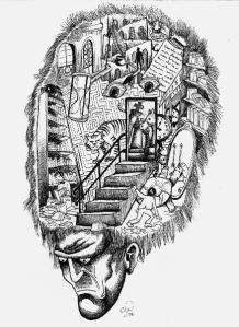 Imagen del personaje Funes, que lo recuerda todo, en la ficción de Borges.